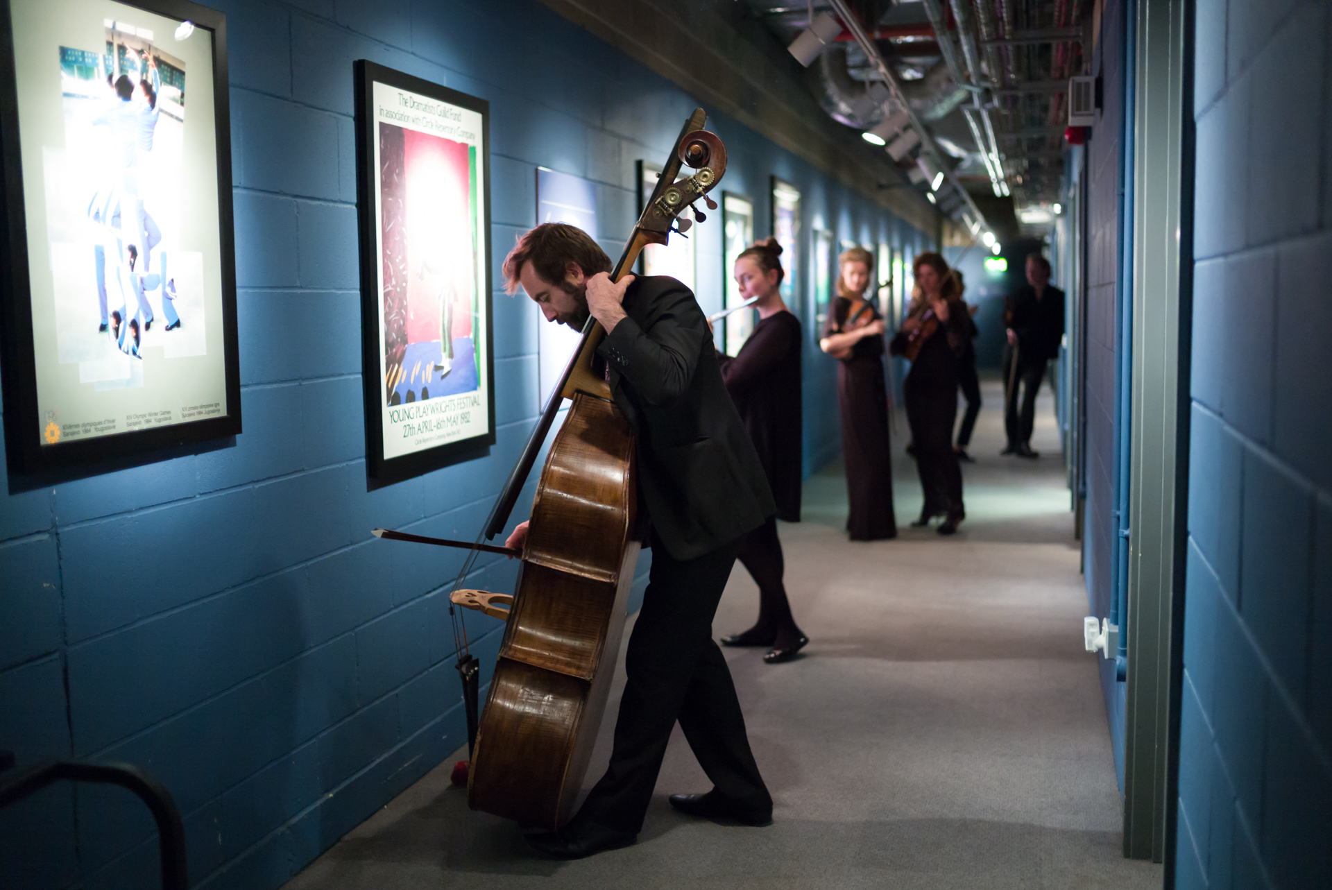 Principal Double Bass Ben Griffiths backstage at Kings Place