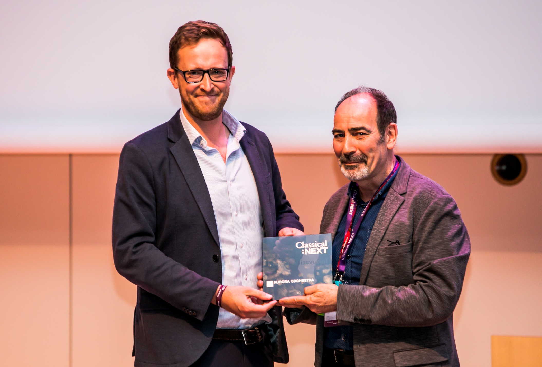 John Harte receives Classical Next Innovation Award from Neil Wallace at De Doelen, Rotterdam